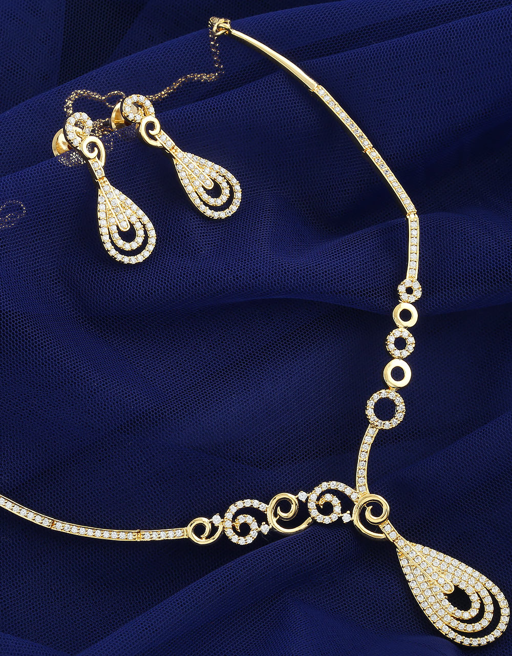 Gold Tone Exclusive Diamond Necklace Studded With American Diamonds Simple Jewellery Set