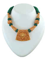 Green Colour Lotus Design Gold Tone Rajasthani Geru Jewellery