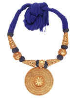 Blue Colour Rajasthani Round Shape Geru Design