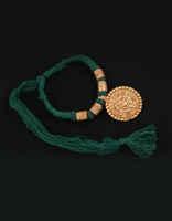 Round Shape Green Colour Gold Tone Geru Jewellery