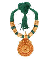 Green Colour Gold Finish Geru Thread Jewellery