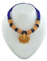 Lotus Design Blue Colour Gold Tone Geru Necklace Jewellery Set