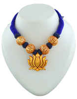 Blue Colour Lotus Design Gold Tone Thread Jewellery Set