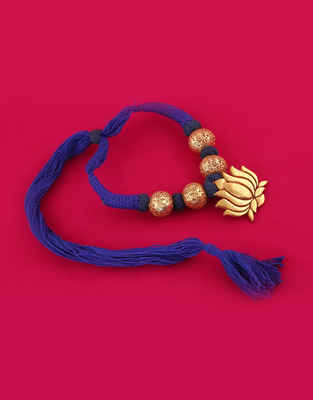 Blue Colour Lotus Design Gold Tone Thread Jewellery Set