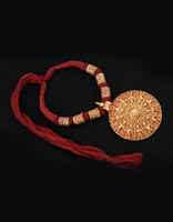 Round Shape Maroon Colour Thread Necklace Set