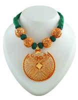 Green Colour Geru Finish Stylish Thread Jewellery Set