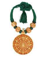 Green Colour Gold Finish Styled With Golden Beads Jewelry Necklace