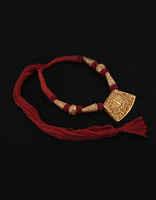 Maroon Colour Lotus Design Gold Finish Thread Jewelry Set
