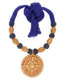 Ganpati Design Blue Colour Gold Finish Threds Jwellry Set
