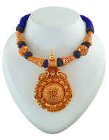 Round Shape Peacock Design Gold Tone Thread Jewellery Set