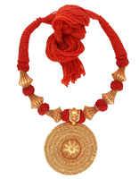 Round Shape Red Colour Gold Finish Geru Jewellery Set