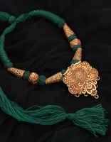 Green Colour Floral Design Geru Jewellery Set For Women