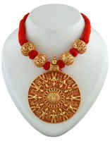 Round Shape Gold Tone Red Colour Jewelry Set