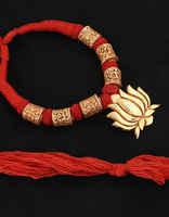 Lotus Design Red Colour Rajasthani Geru Necklace