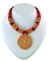 Maroon Colour Thread Jewellery Styled With Gold Ganpati Temple