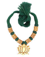 Green Colour Lotus Pendant Rajasthani Geru Jewellery