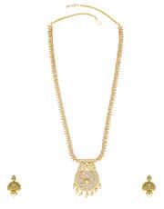 White Colour Diamond Jewellery Studded With American Diamond Necklace Set