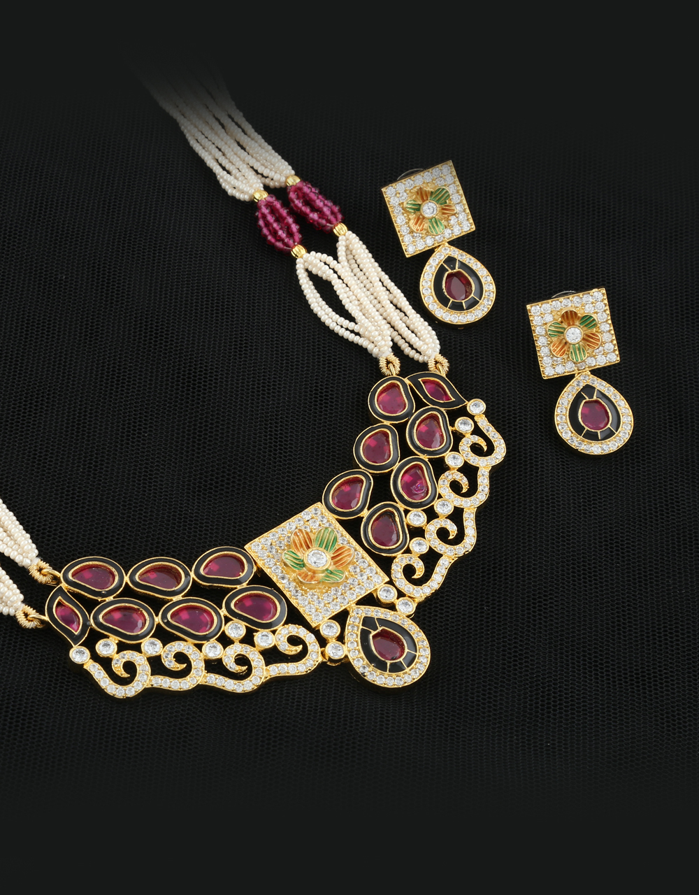 Pink Colour Fancy Jewellery Set Studded With American Diamonds Necklace Set