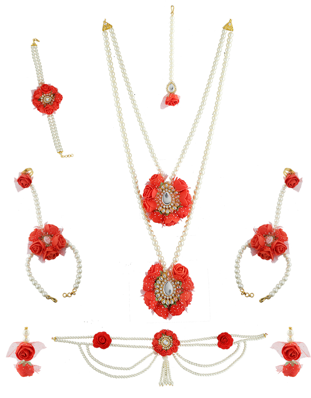 Buy Pearl Flower Necklace Set For Dohale Jevan Styled With Pearls