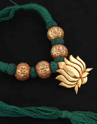 Lotus Design Gold Finish Green Colour Geru Jewellery