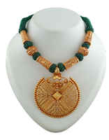 Green Colour Thread Jewellery Styled With Gold Beads Designer Geru Necklace