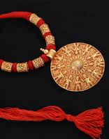 Round Shape Gold Tone Styled With Warli Print Designer Rajasthani Necklace