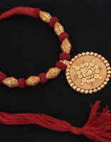Maroon Colour Decorative With Ganpati Design Geru Rajasthani Necklace