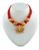 Lotus Design Gold Finish Stylish Red Colour Geru Jewelry