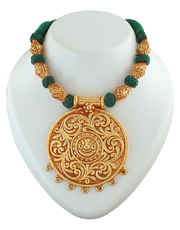 Green Colour Gold Finish Styled With Ganpati Design Geru Jewelery