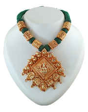 Green Colour Adorable Gold Finish Temple Necklace