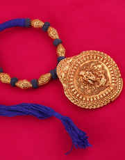 Blue Colour Gold Finish Styled With Krishna Temple Design Geru Jewellery