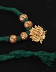 Green Colour Lotus Design Gold Tone Adorable Geru Jewlery