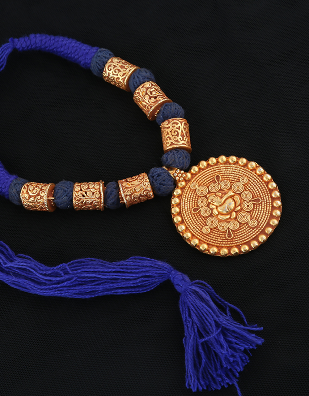 Blue Colour Thread Necklace Styled With Ganpati Design Geru Jewellery