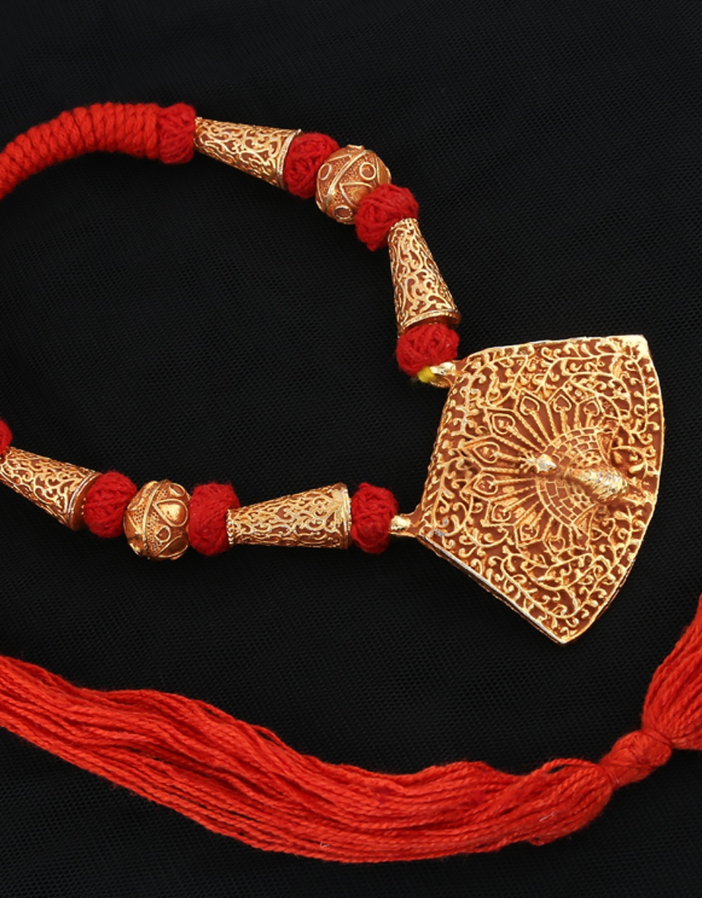 Red Colour Peacock Design Gold Finish Adorable Geru Jewellry
