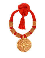 Red Colour Round Shape Gold Tone Geru Necklace