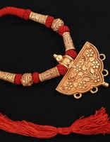 Floral Design Gold Finish Stylish Geru Necklace