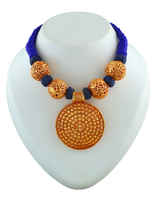 Round Shape Gold Tone Styled With Blue Thread Jewellery