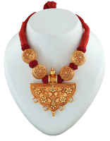 Floral Design Red Thread Jewellery Styled With Beads Geru Necklace