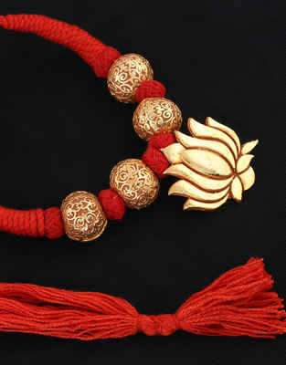 Red Colour Thread Jewellery Styled With Lotus Design Fancy Geru Jewllery