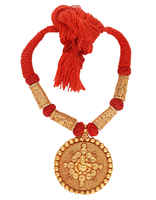 Red Colour Thread Necklace Styled With Ganpati Design Geru Necklace