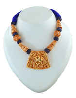 Blue Colour Thread Jewelry Styled With Lotus Design Beads Necklace