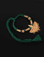 Green Colour Thread Jewellery Styled With Floral Design Geru Necklace