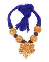 Blue Colour Thread Jewellery Styled With Beads Necklace