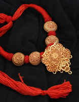 Red Colour Thread Jewellery Styled With Floral Design Geru Necklace