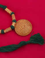 Round Shape Gold Finish Green Colour Adorable Pendant Geru Jewlery