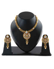 Adorable Gold Finish Necklace Design Styled With Stones Fancy Necklace