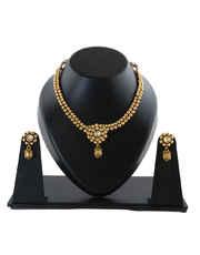 Thushi Pattern Necklace Set Styled With Gold Finish Kundan Necklace