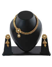 Side Floral Neklace Design Studded With Stones Stylish Necklace Gold