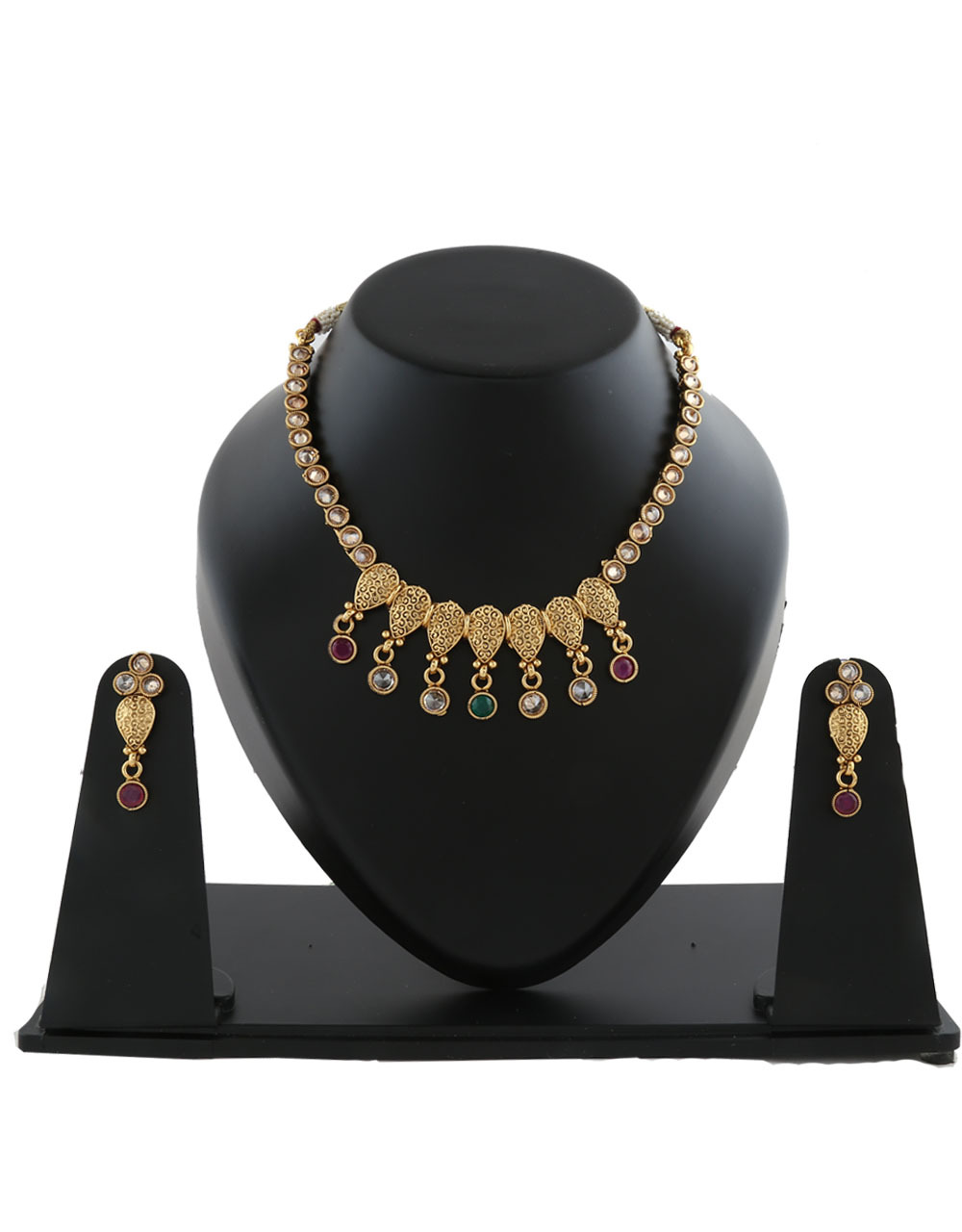 Fashionable Gold Tone Designer Necklaec Set Styled With Stones Fancy Necklace