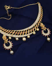 Gold Tone Very Classy Designer Studding American Diamond Set